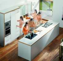 Расположение на кухне мебели и техники