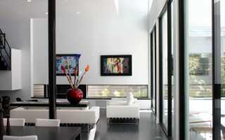 Чёрно белая мебель для гостиной