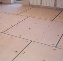 Укладка фанеры на бетон