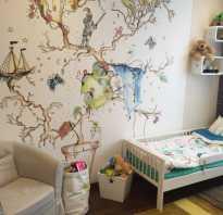Детские рисунки в комнате на стене