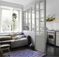 Зонирование кухни и гостиной раздвижной перегородкой