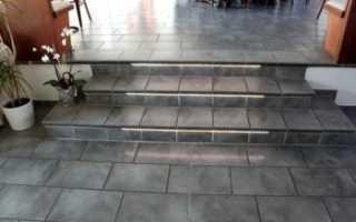 Укладка плитки на бетонную уличную лестницу