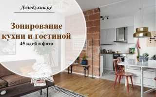 Зонирование на кухню и гостиную