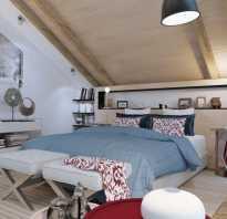 Современная спальня на мансарде