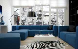 Кухня гостиная с синим диваном