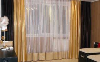 Комбинированные шторы двух цветов для гостиной