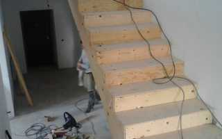 Укладка ступеней на бетонную лестницу